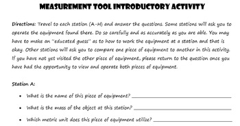 Measurement Tool Introductory Station Activity