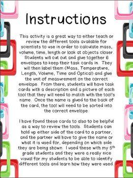 Measurement Tool Task Cards