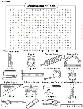 Measurement Tools Word Search/ Coloring Sheet