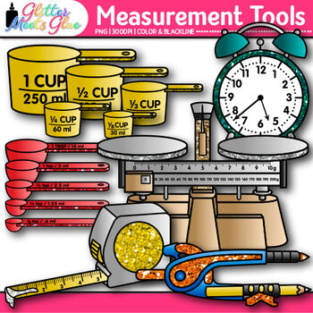 Measurement Tools Clip Art  {Great for Volume, Mass, Perimeter, and Area}