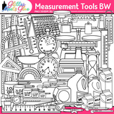 Measurement Tools Clip Art | Great for Volume, Mass, Perimeter, and Area B&W