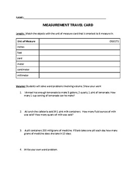 Measurement Travel Card Activity