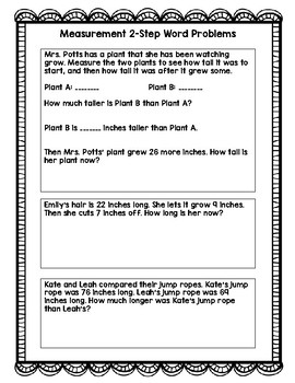 Measurement Two Step Word Problems