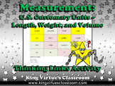 Measurement: U.S. Customary Units Thinking Links Activity - Length Weight Volume