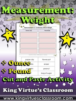 Measurement: U.S. Customary Units of Weight Cut and Paste Activity - Ounce Pound