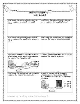 Measurement Unit- Length, Weight/Mass, Customary Capacity, and Elapsed Time