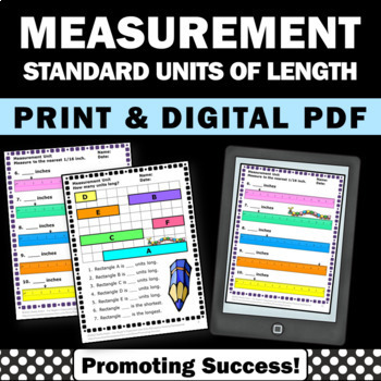 Measuring Length Worksheets, Standard Measurement, 2nd Grade Math Review