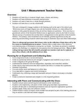 Measurement Unit - Teacher Note