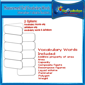 Measurement Unit Vocabulary Words Interactive Foldables for 3rd Grade