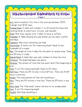 Measurement Vocabulary Activities and Resources for Second Grade