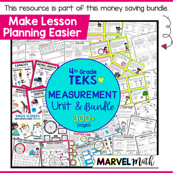Measurement Vocabulary Bunting 4th Grade TEKS by Marvel Math