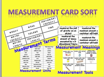 Measurement Vocabulary Card Sort