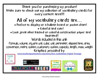 Vocabulary Cards-Measurement (inc. Customary, Metric, Area, Volume, & more!)