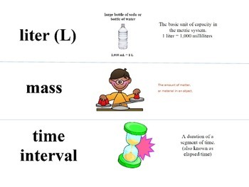 Measurement Vocabulary Cards and Task Cards