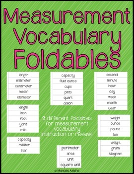 Measurement Vocabulary Foldables!