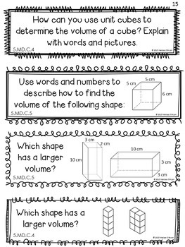 Measurement & Volume Math Journal Response Prompts - Common Core Aligned Grade 5
