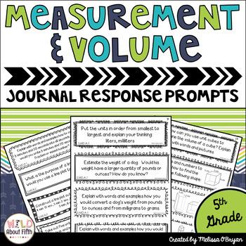 Measurement & Volume Math Journal Prompts 5th Grade