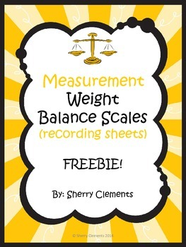 Measurement: Weight: Balance Scales (recording sheets) FREEBIE