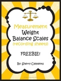 FREE DOWNLOAD : Measurement: Weight: Balance Scales (recording sheets) FREEBIE