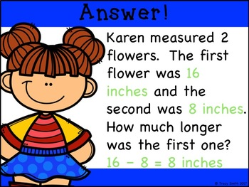 Measurement Word Problem - Length (Customary and Metric). NO PREP! 2.MD.B.5