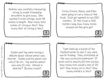 Measurement  Word Problem Task Cards: Grade 4-5