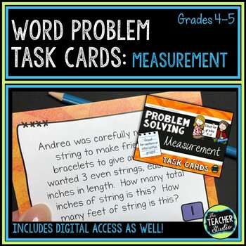 Measurement  Word Problem Task Cards: Grade 4-5