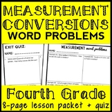 Measurement Word Problems (4.MD.2) 4th Grade Unit Conversion Word Problem