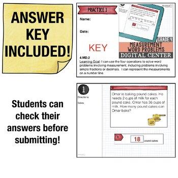Measurement Word Problems - 4th Grade Digital Math Task Cards