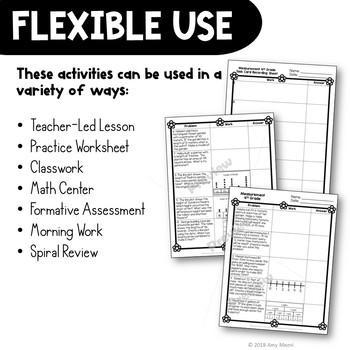 Measurement Word Problems Task Card Math Center & Bug Activity 4th Grade