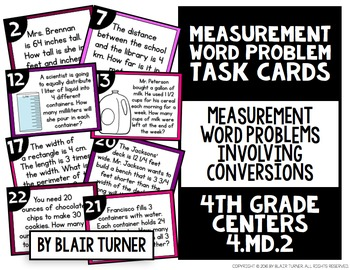 Measurement Word Problems Task Cards: 4th Grade Math Centers 4.MD.2