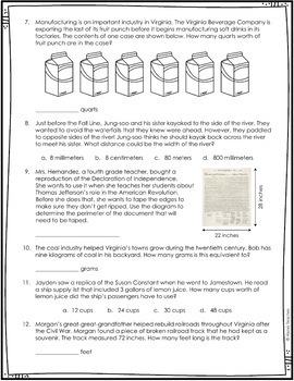 Measurement Word Problems - Virginia Studies *Cross-Curricular*