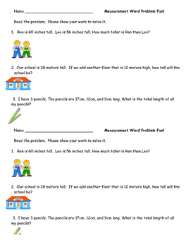 measurement word problems worksheet by excelling in elementary tpt. Black Bedroom Furniture Sets. Home Design Ideas