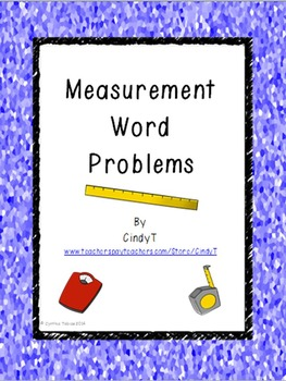Measurement Word Problems --helps teach 2.MD.8