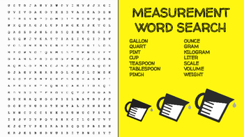 Measurement Word Search; FACS, Culinary, Bellringer, Volume, Weight, Measuring