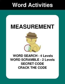 Measurement - Word Search, Scramble,  Secret Code,  Crack the Code