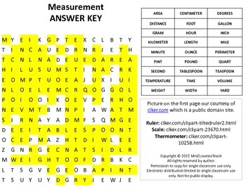 Measurement Word Search with Answer Key