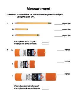 Measurement Worksheet - 1st grade