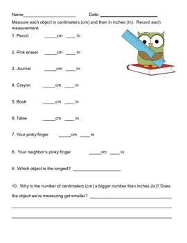 Measurement Worksheet (Inches and centimeters)