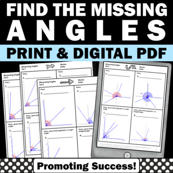 Measuring Angles and Algebra Measurement Worksheets  CCSS 4.MD.C.7