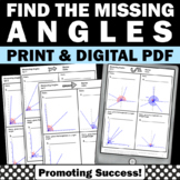 Find the Missing Angle 4th Grade Math Review Distance Learning Digital Activity