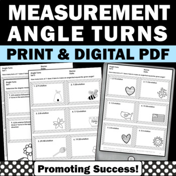 Measurement Worksheets Angle Turns 4th Grade Common Core Math Review