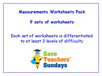 Measurement Worksheets Bundle / Pack (9 sets for 1st to 2nd grade)