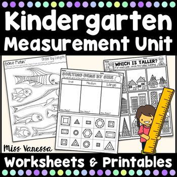 Kindergarten Measurement Worksheets By Miss Vanessa Tpt