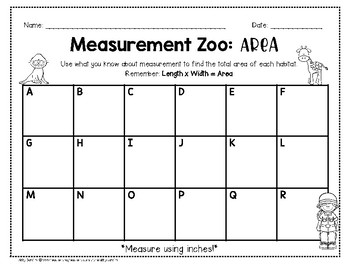 Measurement Zoo: Area & Perimeter (Use rulers to find area and perimeter!)