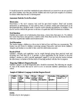 Measurement and Assessment Procedures In Children's Performance