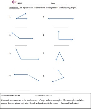 Measurement and Data 4.MD. Fourth Grade Common Core Math Sheets All Standards