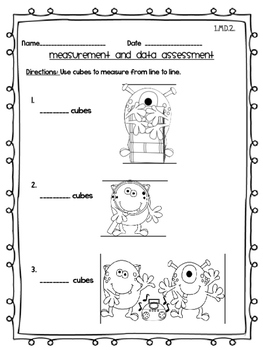 Measurement and Data Assessment CCSS 1st grade MD Monster Theme