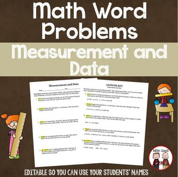 Measurement and Data Editable Word Problems