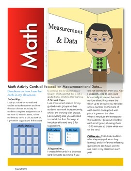 Measurement and Data Math Station Activity Cards