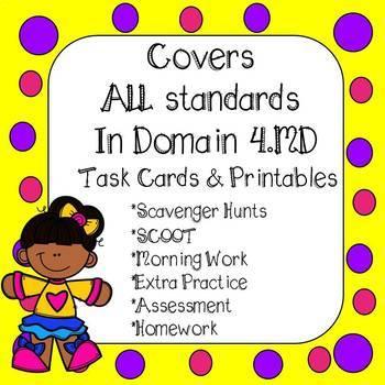 4th Grade Measurement & Data Task Cards & Worksheets Bundle Common Core Aligned
